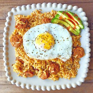 Try something new for breakfast: How about Breakfast Jambalaya with Fried Egg and Avocado?! Here's the easy recipe.
