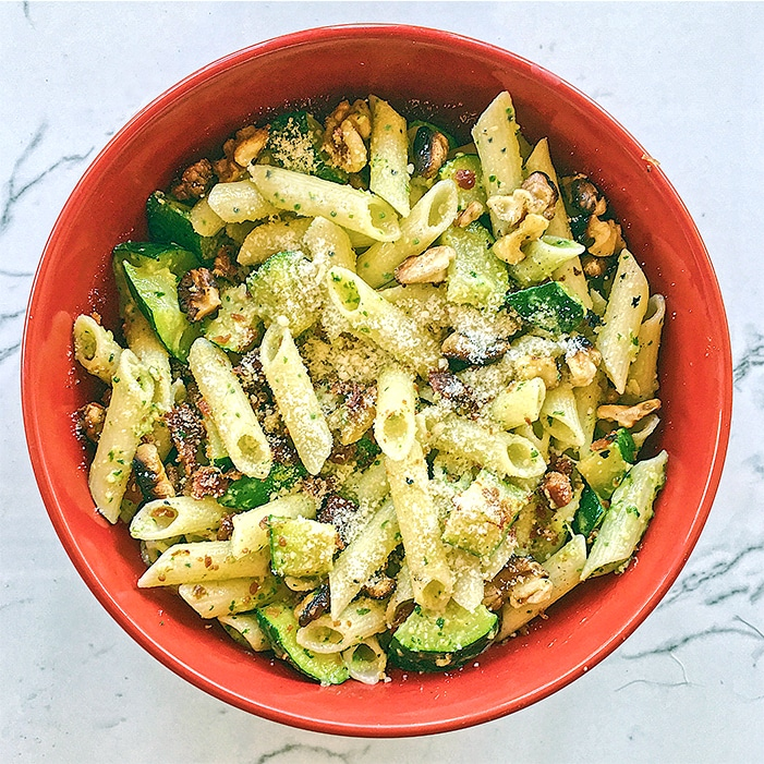 Got 20 minutes to spare? Try our 20-minute Penne Pesto with Zucchini, Bacon, and Walnuts Recipe!