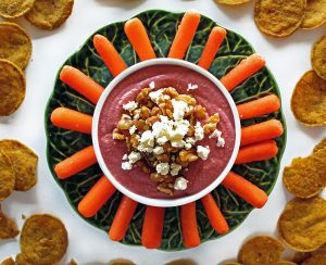 Beet Hummus with Feta Cheese and Walnuts