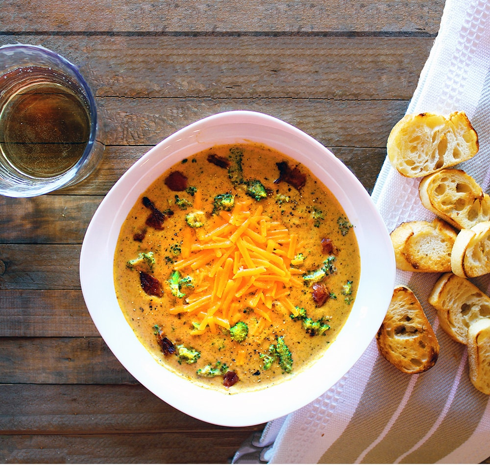 Easy Broccoli Cheese Soup with Bacon