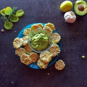 "Oven ""Fried"" Pickles (Gluten Free) with an Avocado-Dill Aioli sauce for dipping!"