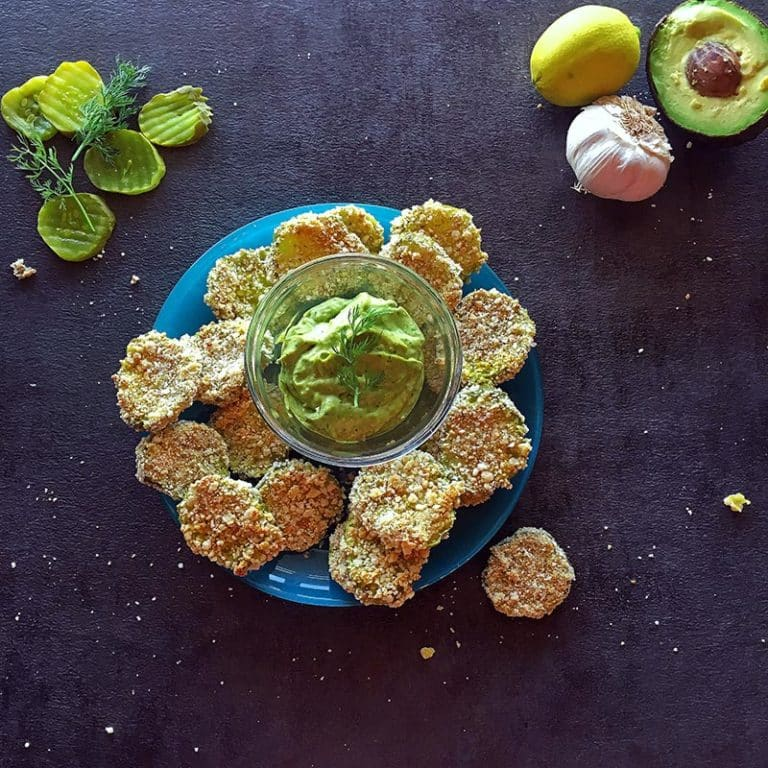 Oven Fried Pickles (gluten-free) with an Avocado-Dill Aioli sauce for dipping!