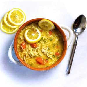 A warming lemon chicken orzo soup that is ready in just 25 minutes!