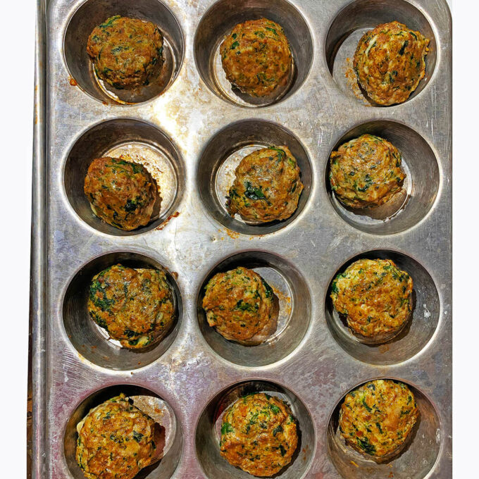 kid-friendly meatballs - step 6 using another option (muffin tins!)